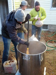 Greg stirring for the mash-in